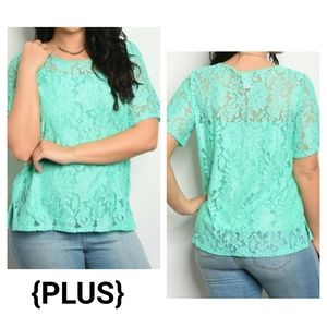 {PLUS} Mint Green Lace Blouse Lined Short Sleeves